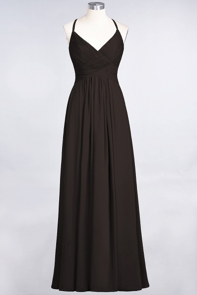 A-Line Chiffon Spaghetti-Straps V-Neck Sleeveless Floor-Length Bridesmaid Dress with Ruffles_11