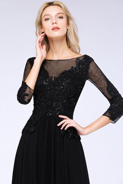 BM0764 Black 3/4 Sleeves Beads A-Line Appliques Bridesmaid Dress_5