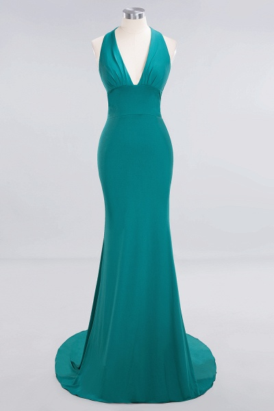 BM0670 Elegant Mermaid Halter Pool V-neck Bridesmaid Dress_28
