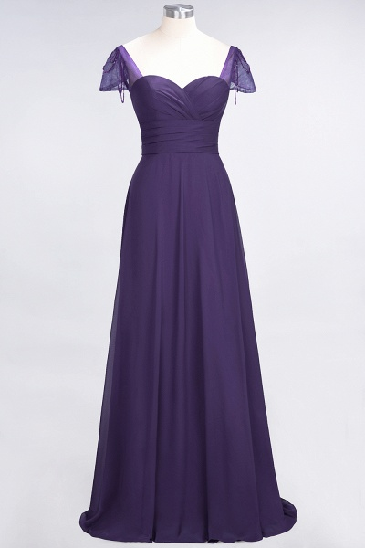 A-Line Chiffon Sweetheart Cap-Sleeves Ruffle Floor-Length Bridesmaid Dress with Beadings_18