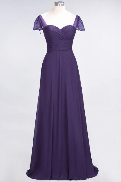 A-Line Chiffon Sweetheart Cap-Sleeves Ruffle Floor-Length Bridesmaid Dress with Beadings_18