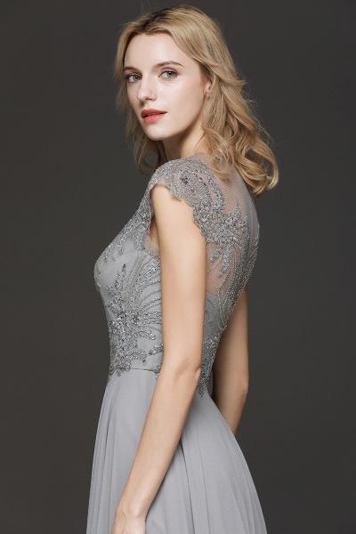 BM0755 Crystal Appliques Sweetheart Cap sleeves Side Slit Bridesmaid Dress_6