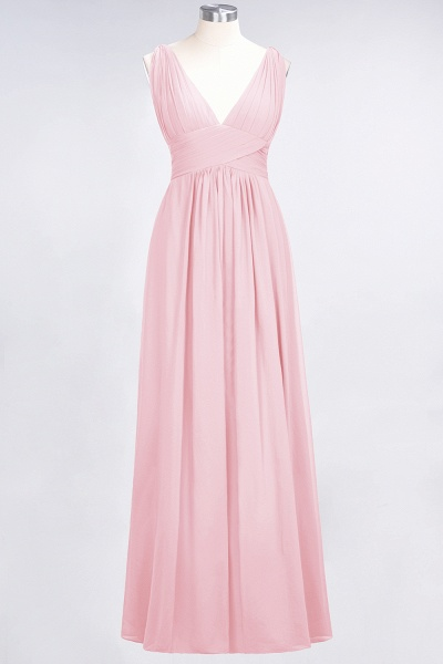 A-Line Chiffon V-Neck Sleeveless Floor-Length Bridesmaid Dress with Ruffle_4