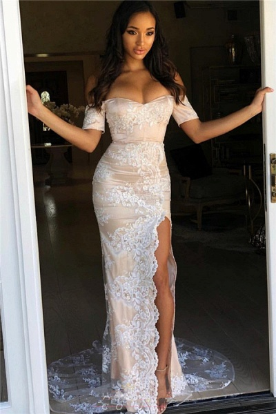 Fascinating Off-the-shoulder Split Front Mermaid Prom Dress_1