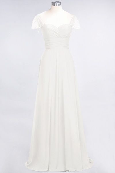 A-Line Chiffon Sweetheart Cap-Sleeves Ruffle Floor-Length Bridesmaid Dress with Beadings_2