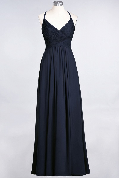 A-Line Chiffon Spaghetti-Straps V-Neck Sleeveless Floor-Length Bridesmaid Dress with Ruffles_27