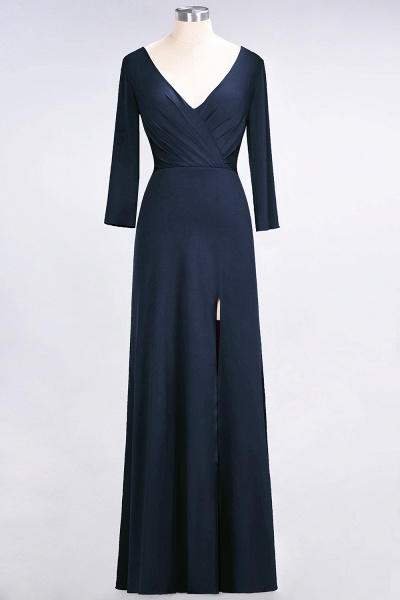 A-Line Spandex V-Neck Long-Sleeves Side-Slit Floor-Length Bridesmaid Dress with Ruffles_24
