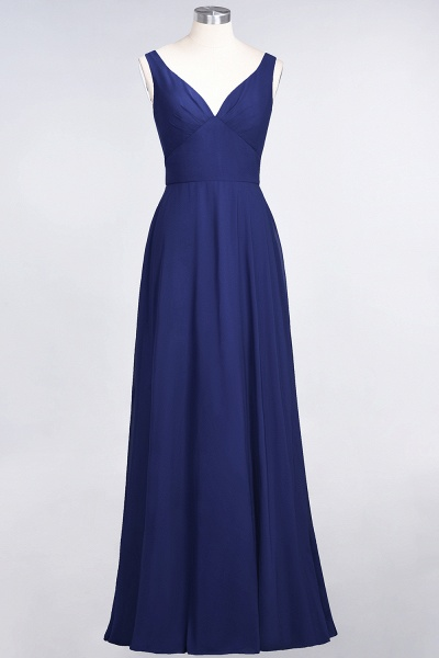 A-Line Chiffon V-Neck Straps Sleeveless Ruffles Floor-Length Bridesmaid Dress with Open Back_25