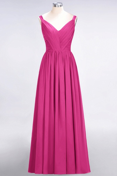 A-Line Chiffon Straps V-Neck Sleeveless Backless Floor-Length Bridesmaid Dress with Ruffles_9