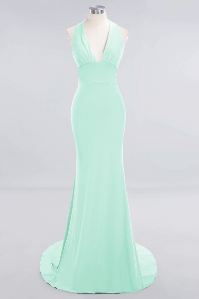 BM0670 Elegant Mermaid Halter Pool V-neck Bridesmaid Dress_30