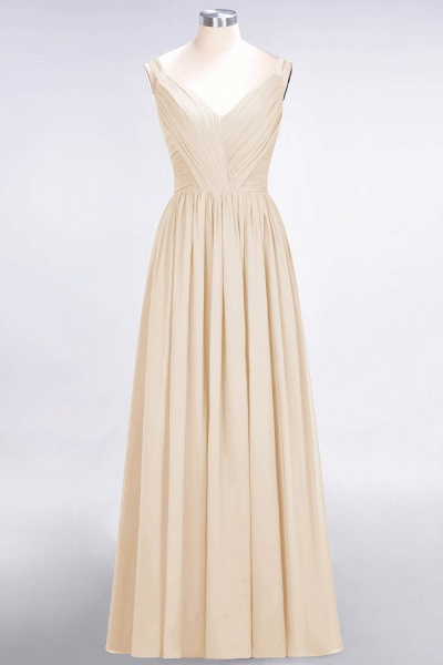 A-Line Chiffon Straps V-Neck Sleeveless Backless Floor-Length Bridesmaid Dress with Ruffles_14