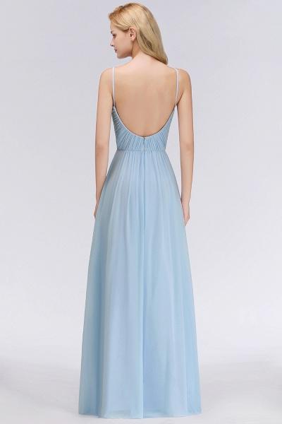 A-Line Chiffon V-Neck Spaghetti Straps Floor-Length Bridesmaid Dresses_2