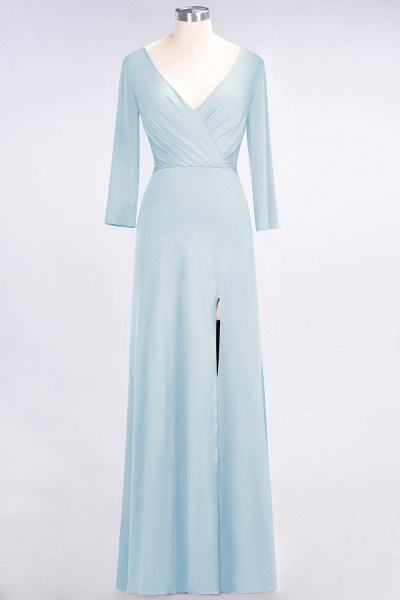 A-Line Spandex V-Neck Long-Sleeves Side-Slit Floor-Length Bridesmaid Dress with Ruffles_20