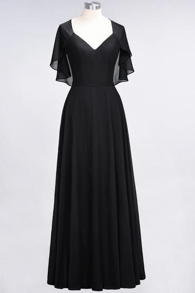 A-Line Chiffon Satin V-Neck short-sleeves Floor-Length Bridesmaid Dress_28