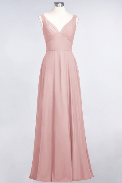 A-Line Chiffon V-Neck Straps Sleeveless Ruffles Floor-Length Bridesmaid Dress with Open Back_6