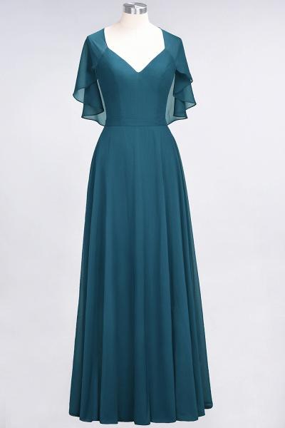 A-Line Chiffon Satin V-Neck short-sleeves Floor-Length Bridesmaid Dress_26