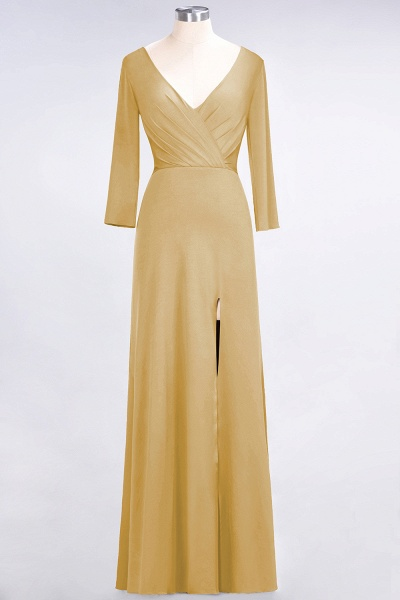 A-Line Spandex V-Neck Long-Sleeves Side-Slit Floor-Length Bridesmaid Dress with Ruffles_12