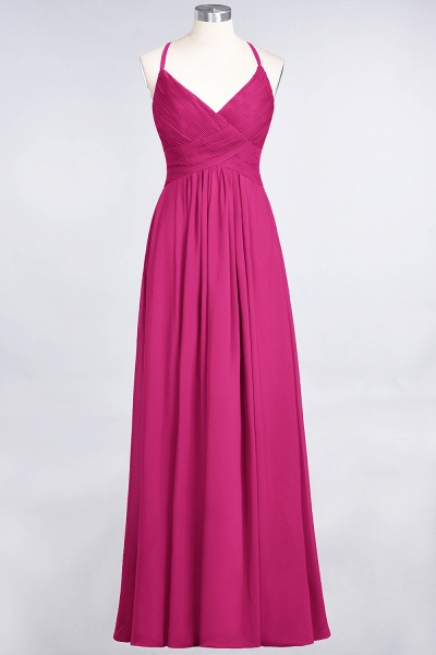 A-Line Chiffon Spaghetti-Straps V-Neck Sleeveless Floor-Length Bridesmaid Dress with Ruffles_9