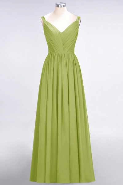 A-Line Chiffon Straps V-Neck Sleeveless Backless Floor-Length Bridesmaid Dress with Ruffles_32