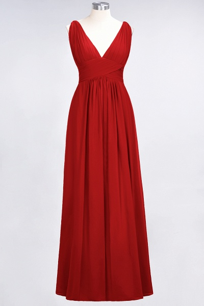 A-Line Chiffon V-Neck Sleeveless Floor-Length Bridesmaid Dress with Ruffle_8