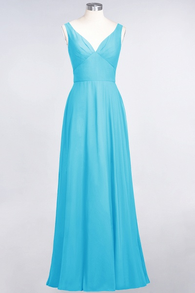 A-Line Chiffon V-Neck Straps Sleeveless Ruffles Floor-Length Bridesmaid Dress with Open Back_23