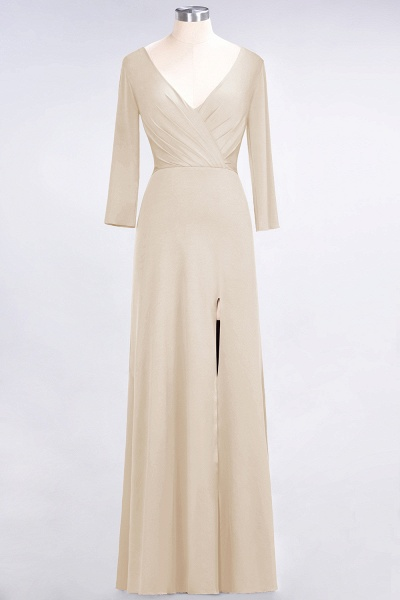 A-Line Spandex V-Neck Long-Sleeves Side-Slit Floor-Length Bridesmaid Dress with Ruffles_13