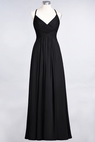 A-Line Chiffon Spaghetti-Straps V-Neck Sleeveless Floor-Length Bridesmaid Dress with Ruffles_28