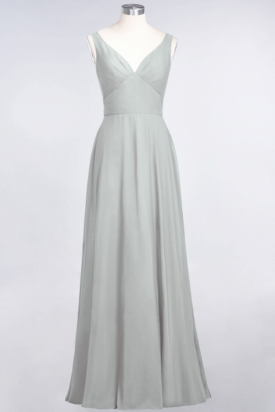 A-Line Chiffon V-Neck Straps Sleeveless Ruffles Floor-Length Bridesmaid Dress with Open Back_29