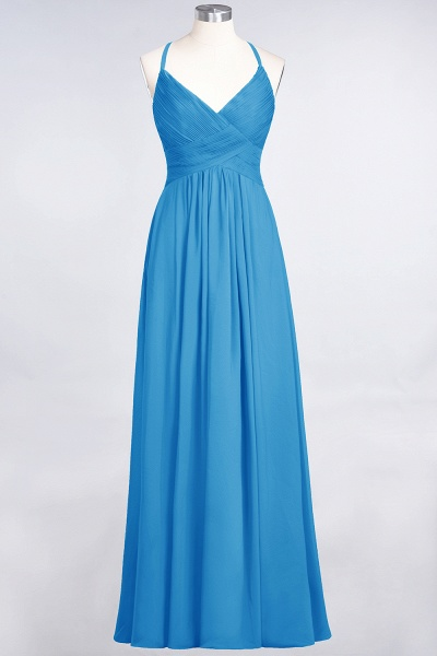A-Line Chiffon Spaghetti-Straps V-Neck Sleeveless Floor-Length Bridesmaid Dress with Ruffles_24
