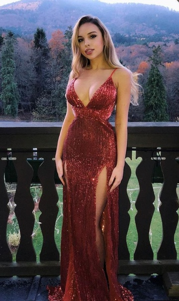 Fascinating V-neck Sequined Mermaid Prom Dress_2