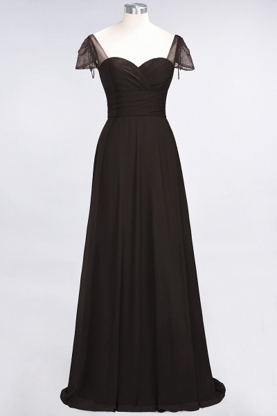 A-Line Chiffon Sweetheart Cap-Sleeves Ruffle Floor-Length Bridesmaid Dress with Beadings_11