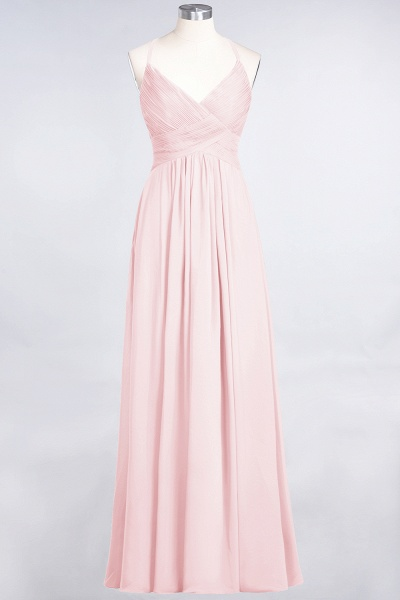 A-Line Chiffon Spaghetti-Straps V-Neck Sleeveless Floor-Length Bridesmaid Dress with Ruffles_3