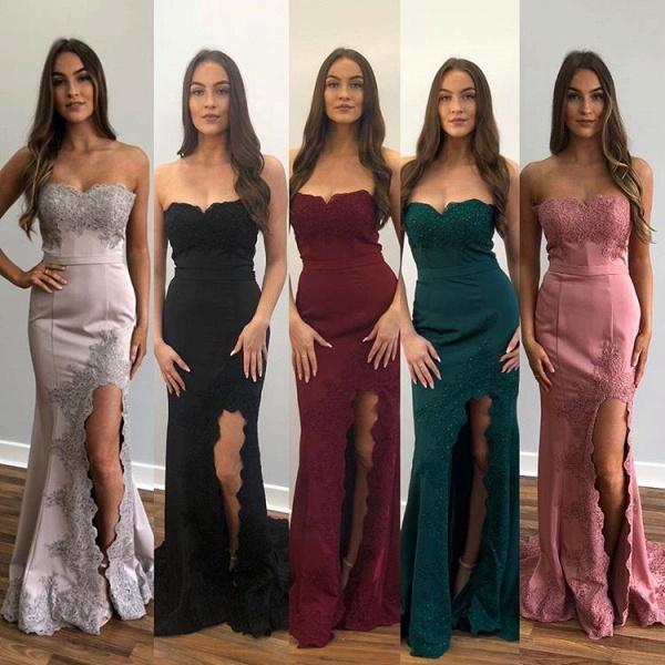 Exquisite Strapless Split Front Mermaid Prom Dress_3