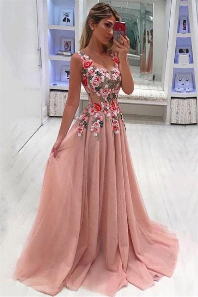 Affordable Straps Appliques A-line Evening Dress_1