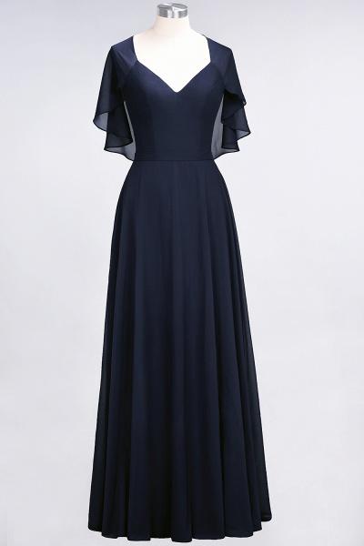 A-Line Chiffon Satin V-Neck short-sleeves Floor-Length Bridesmaid Dress_27
