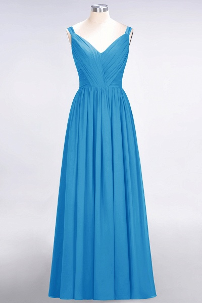 A-Line Chiffon Straps V-Neck Sleeveless Backless Floor-Length Bridesmaid Dress with Ruffles_24