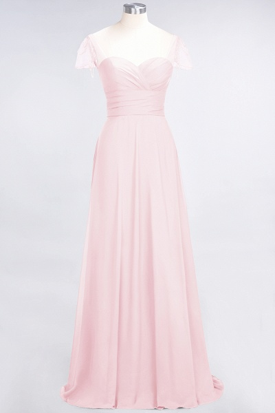A-Line Chiffon Sweetheart Cap-Sleeves Ruffle Floor-Length Bridesmaid Dress with Beadings_3