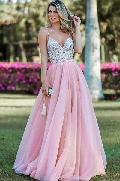 Wonderful Spaghetti Straps Appliques A-line Prom Dress_1