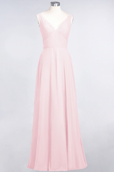 A-Line Chiffon V-Neck Straps Sleeveless Ruffles Floor-Length Bridesmaid Dress with Open Back_3