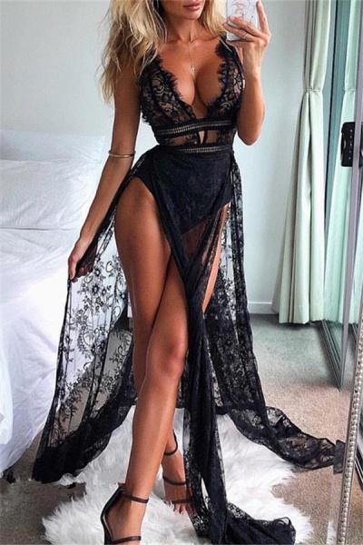 Modest Straps Split Front Mermaid Prom Dress_1