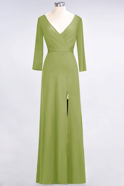 A-Line Spandex V-Neck Long-Sleeves Side-Slit Floor-Length Bridesmaid Dress with Ruffles_29