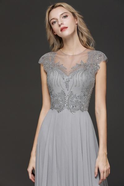 BM0755 Crystal Appliques Sweetheart Cap sleeves Side Slit Bridesmaid Dress_5