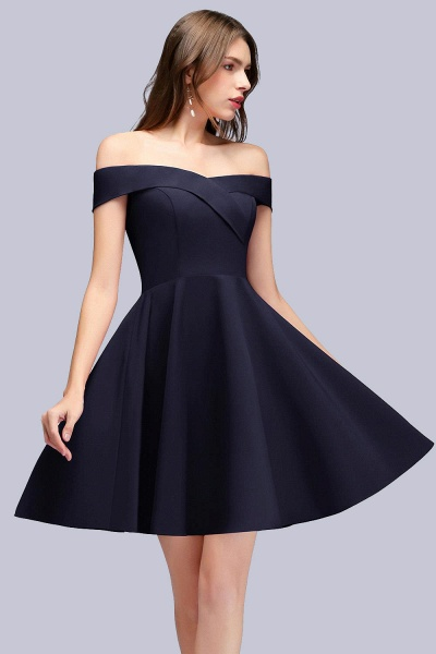 BM0824 Dark Navy Simple Short Off the Shoulder Bridesmaid Dress_1
