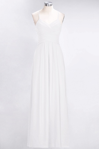 A-Line Chiffon Halter V-Neck Sleeveless Floor-Length Bridesmaid Dress with Ruffles_1