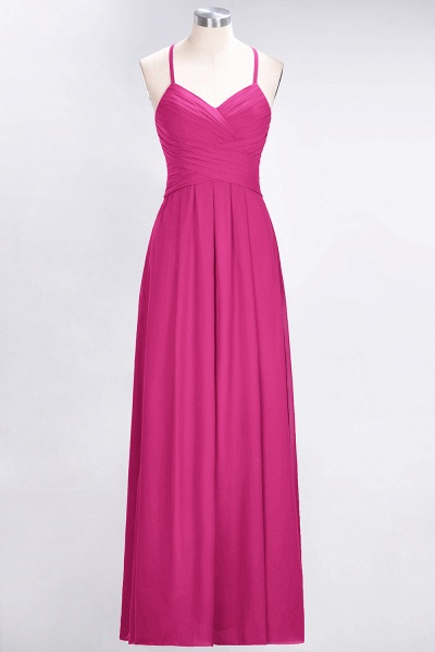 A-Line Chiffon Halter V-Neck Sleeveless Floor-Length Bridesmaid Dress with Ruffles_9
