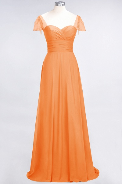 A-Line Chiffon Sweetheart Cap-Sleeves Ruffle Floor-Length Bridesmaid Dress with Beadings_15