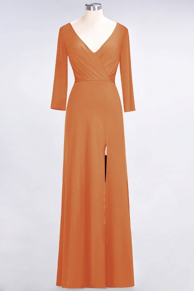 A-Line Spandex V-Neck Long-Sleeves Side-Slit Floor-Length Bridesmaid Dress with Ruffles_14