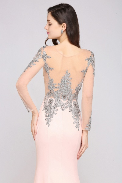 BM0129 Pink Mermaid Long Sleeves Appliques Beads Bridesmaid Dresses_6