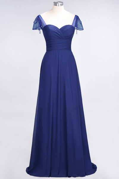 A-Line Chiffon Sweetheart Cap-Sleeves Ruffle Floor-Length Bridesmaid Dress with Beadings_25
