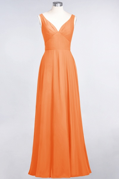 A-Line Chiffon V-Neck Straps Sleeveless Ruffles Floor-Length Bridesmaid Dress with Open Back_15